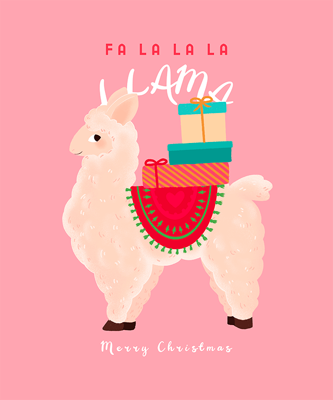Christmas T Shirt Design Creator With An Illustrated Llama Graphic