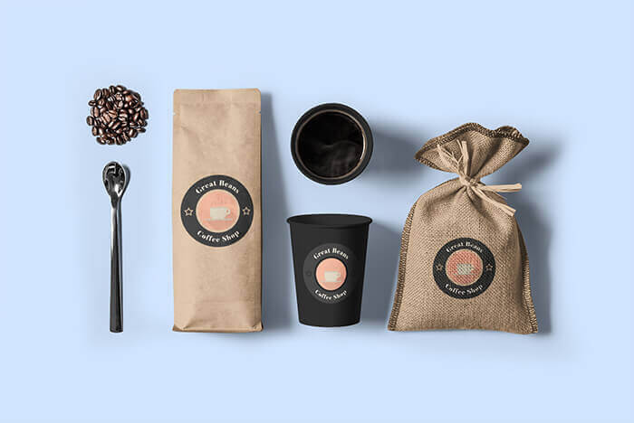 Coffee Bag Mockup Featuring A Paper Cup And A Burlap Bag