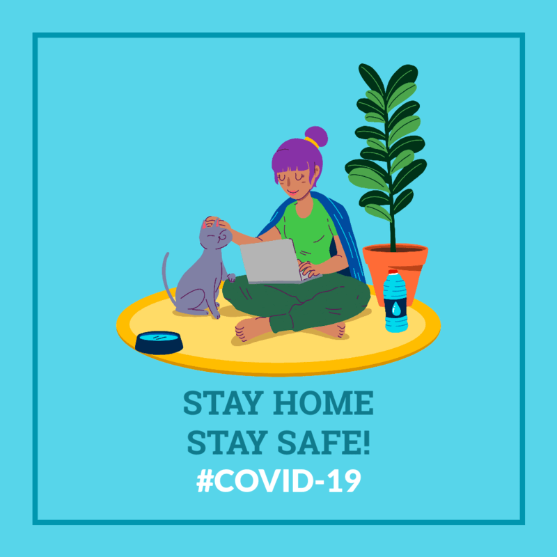 Coronavirus Awareness Facebook Post Design Maker Featuring An Illustration Of A Woman At Home