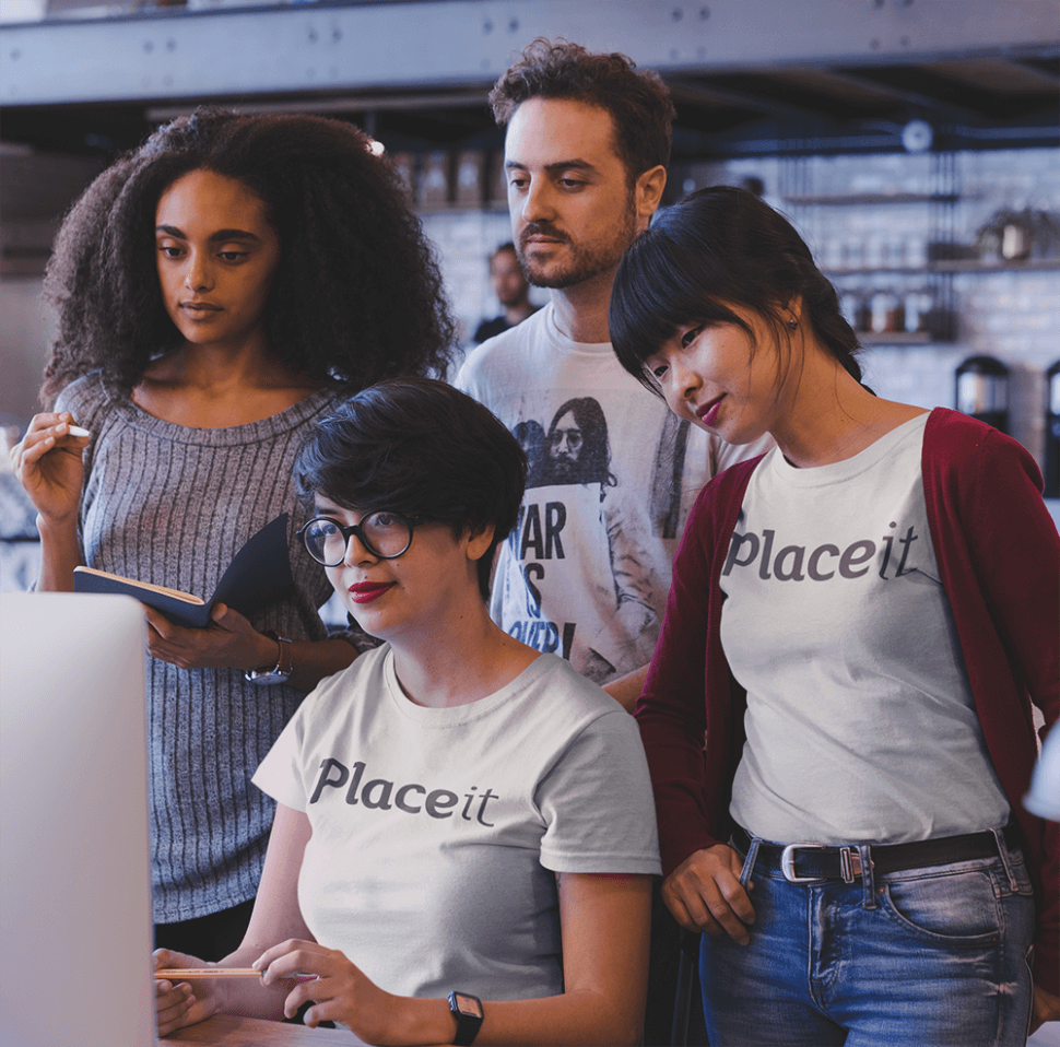 Group Of Coworkers At A Startup Wearing T Shirts Mockup While At A Meeting