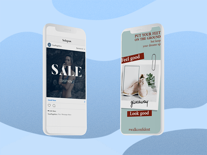 Illustrated Mockup Featuring Two Iphone 11 Pro Screens With A Customizable Background