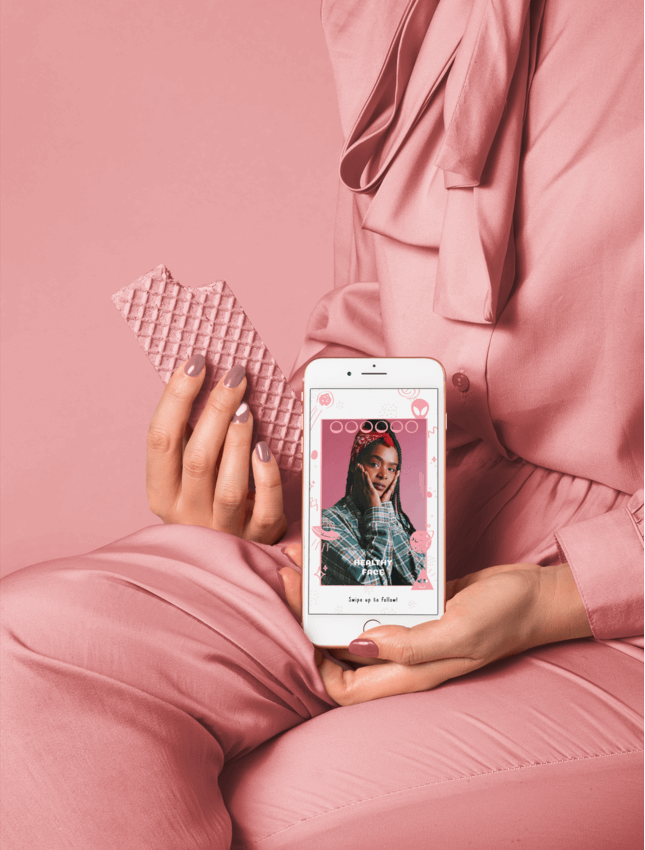 Iphone 8 Mockup Of A Woman In Millennial Pink Setting