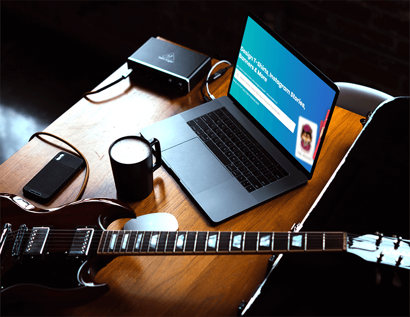 Macbook Pro Mockup Placed Next To A Guitar