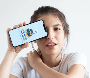Mockup Of A Girl Covering One Eye With Her Iphone