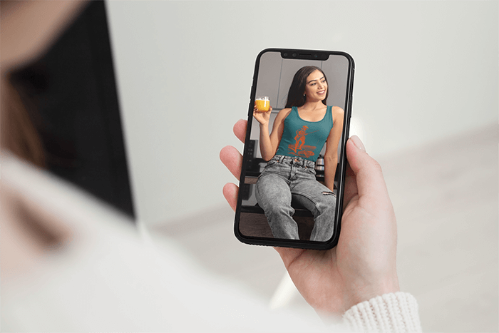 Mockup Of A Woman Holding An Iphone 11 Pro In Portrait Position