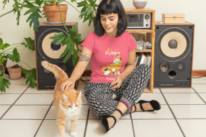 Mockup Of Woman Wearing Cat Tshirt