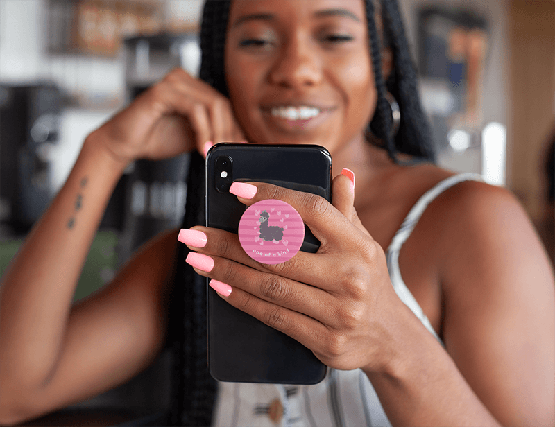 Phone Grip Mockup Featuring A Smiling Woman Looking At Her Iphone 28163