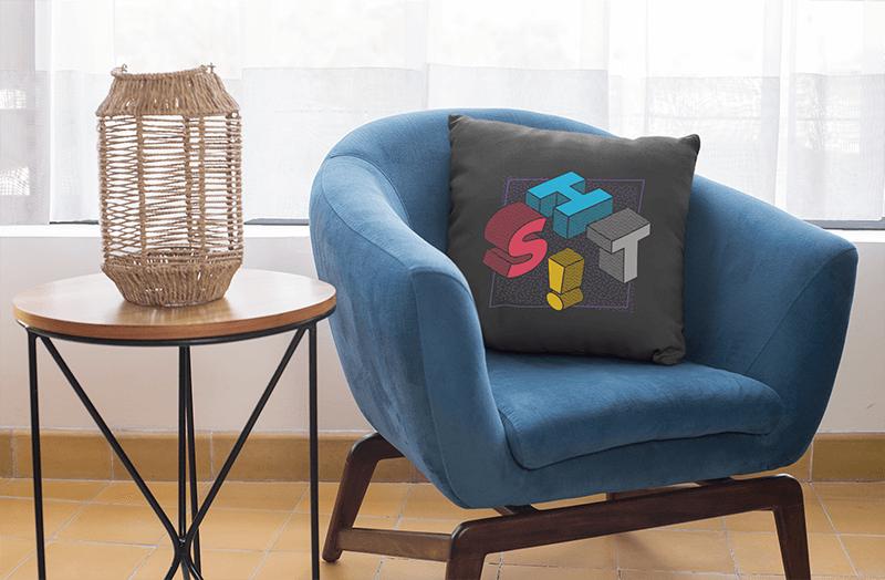 Square Pillow Mockup Featuring A Blue Single Sofa