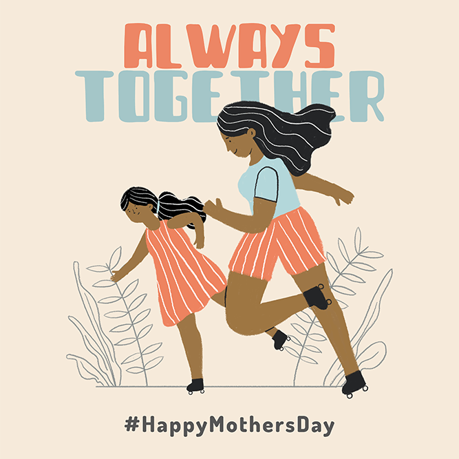 T Shirt Design Maker Featuring An Illustration Of A Mom And Her Daughter Having Fun Together