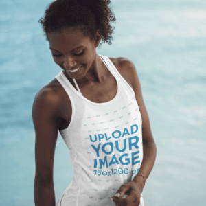 Tank Top Mockup Of A Young Woman At The Beach