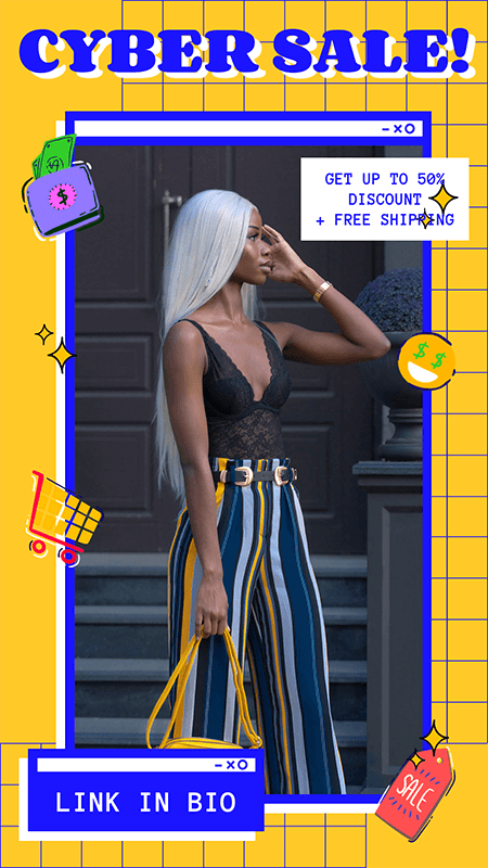Trendy Instagram Story Maker For A Cyber Monday Fashion Sale