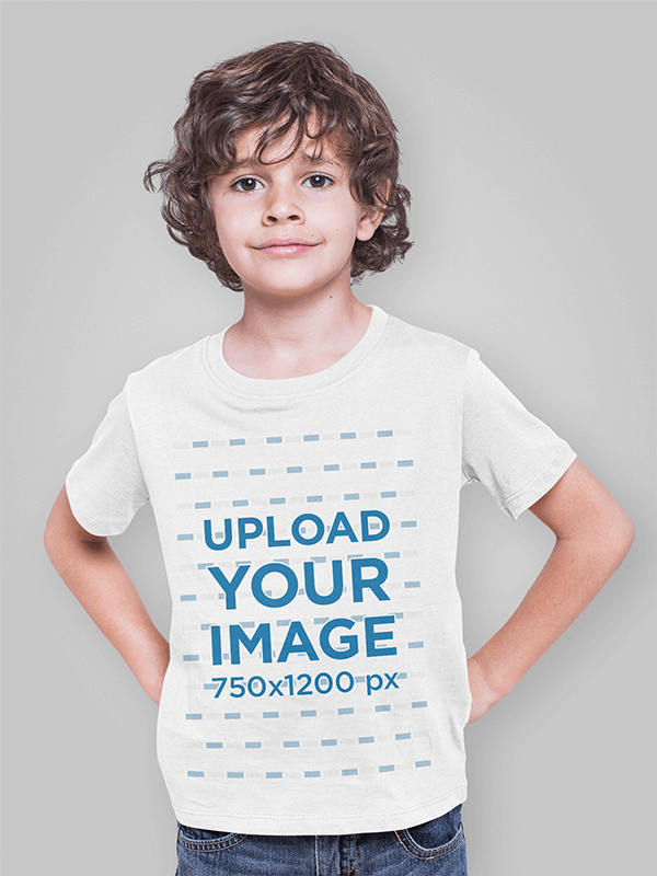T Shirt Mockup Of A Boy Posing In A Studio