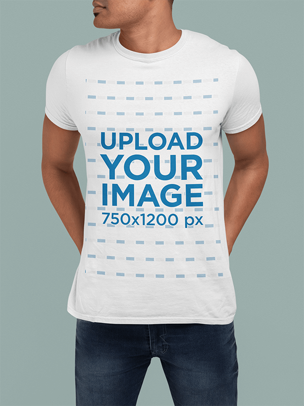 T Shirt Mockup Of A Cropped Face Man With Hands In His Back