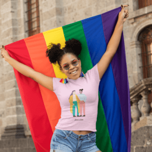 T Shirt Mockup Of A Woman Proudly Holding A Rainbow Flag