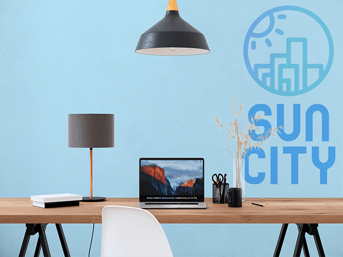 Wallpaper Mockup Featuring A Working Space Desk