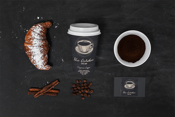 Coffee Cup Mockup Featuring Business Cards And A Croissant