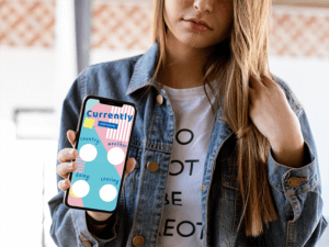 Iphone Xs Max Mockup Of A Blonde Girl With A Denim Jacket