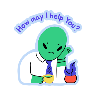 Sticker Design Creator Featuring An Alien At Its Office