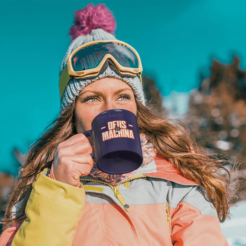 11 Oz Coffee Mug Mockup Of A Woman Getting Ready To Ski