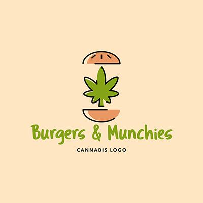 Fast Food Restaurant Logo Maker With A Marijuana Leaf Between Two Burger Breads