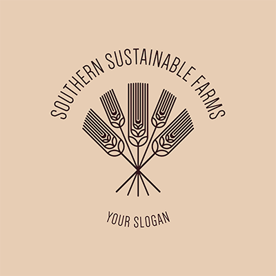 Logo Creator For A Sustainable Farm With Wheat Graphics