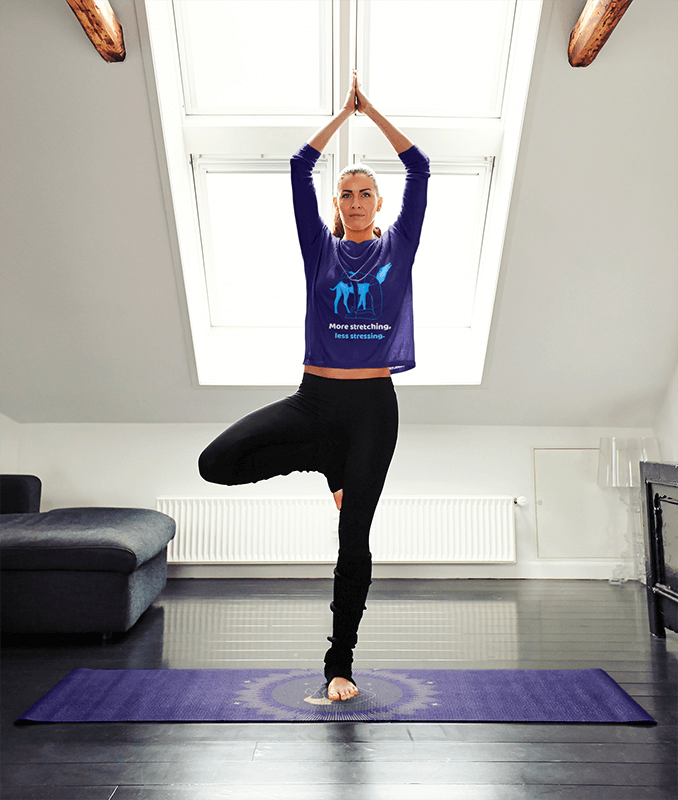 Long Sleeve Tee Mockup Featuring A Woman Doing Yoga On A Mat