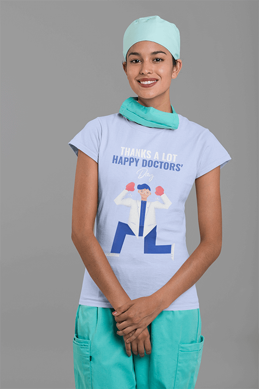Mockup Of A Smiling Female Nurse Wearing A Tee And A Hair Cap