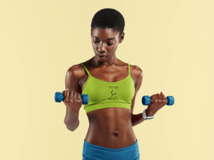 Mockup Of A Woman Wearing A Customizable Sports Bra And Holding Two Dumbbells