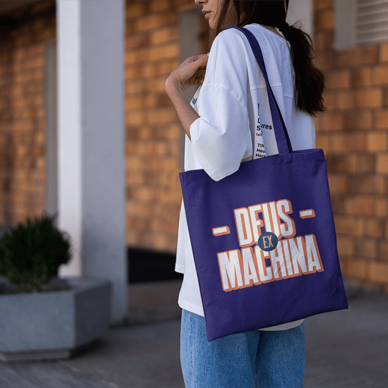 Mockup Of A Woman With A Tote Bag Walking On A Hallway