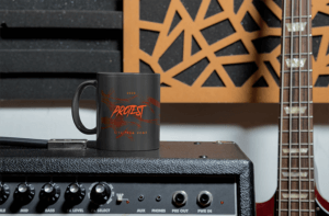 Mug Mockup With Rock Band Logo
