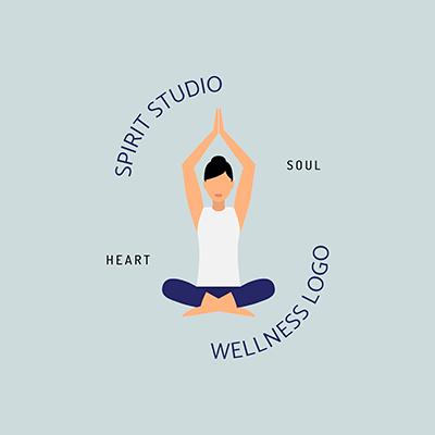 Spiritual Studio Logo Maker Featuring A Woman Doing Yoga
