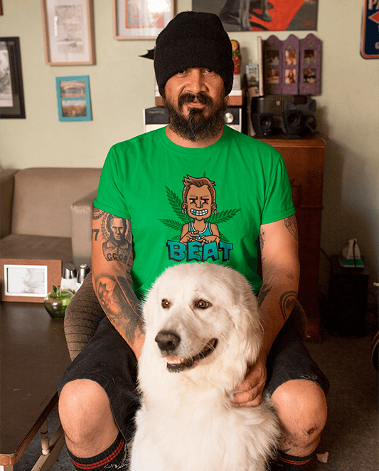 T Shirt Mockup Featuring A Man At Home With His Dog