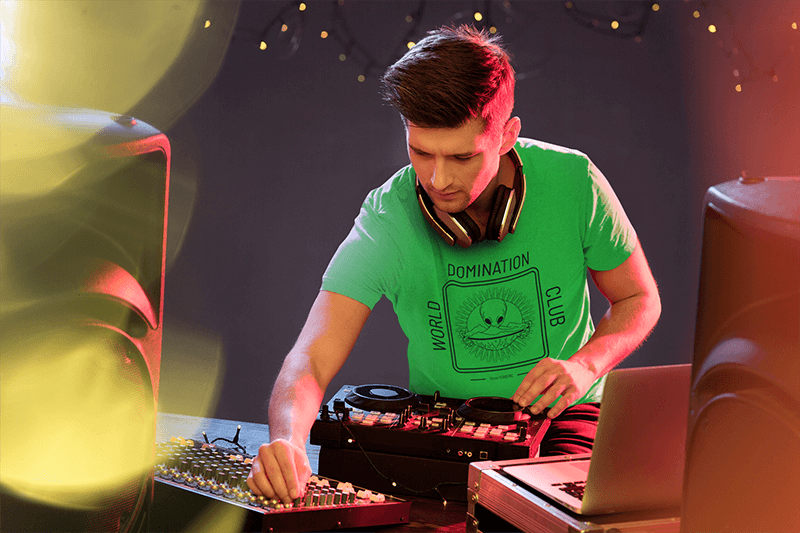 T Shirt Mockup Of A Male Dj On Stage