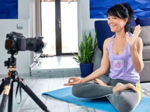 Tank Top Mockup Of A Woman Recording A Yoga Vlog