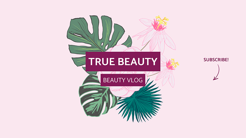 Beauty Channel Youtube Banner Design Template With Floral Graphics