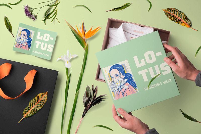 Box Mockup Featuring Flowers And A Greeting Card