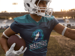 Football Jersey Generator Man Running Back In The Field
