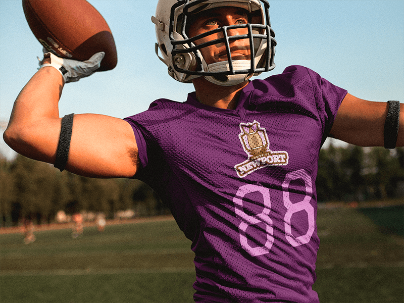 Football Jersey Generator Quarterback Throwing While At The Field