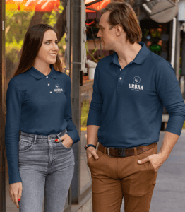 Long Sleeve Polo Shirt Mockup Of A Couple On The Street