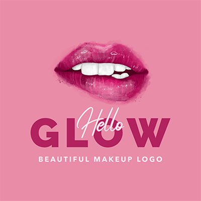 Makeup Logo Generator Featuring Glossy Lips Clipart