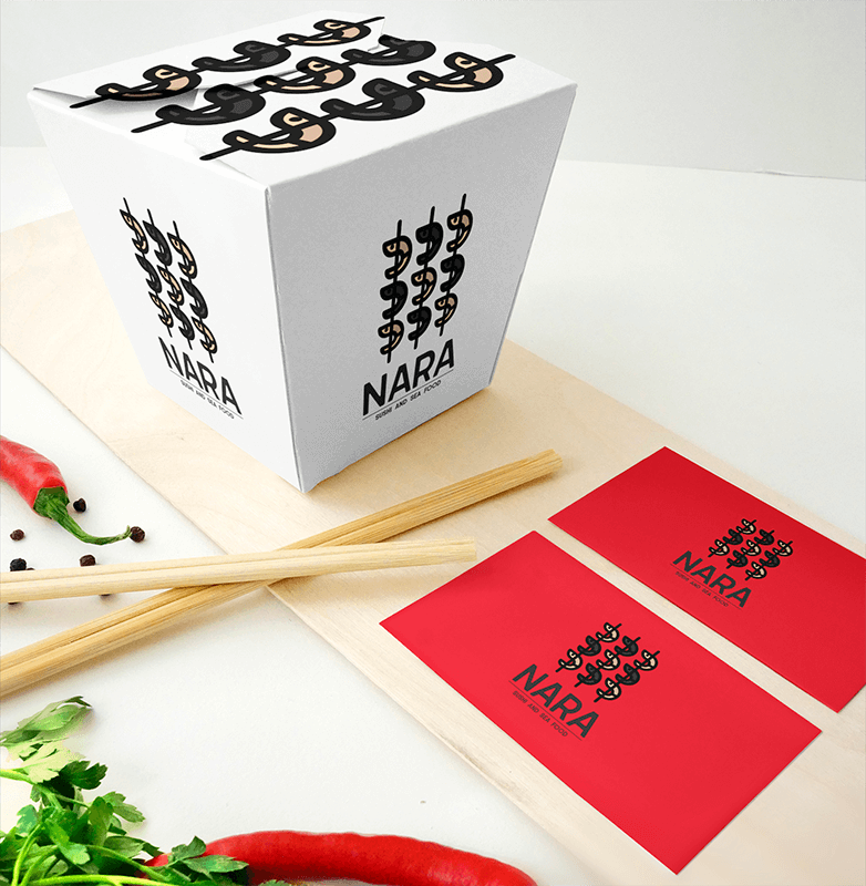Mockup Featuring A Food Box Placed Next To Two Business Cards