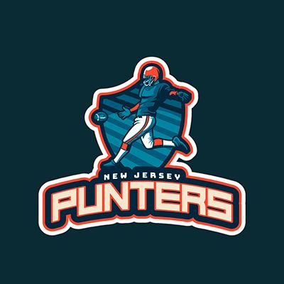 Sports Logo Template Featuring A Player Kicking A Football Ball