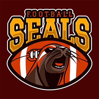 Sports Logo Template For A Football Team With An Aggressive Seal Graphic