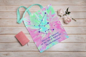 Sublimated Tote Bag Mockup Featuring Fake Flowers