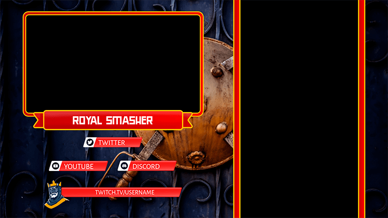 Epic Twitch Overlay Design Creator With A Coat Of Armas As Background