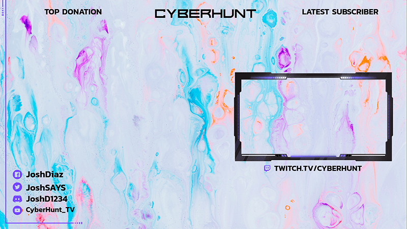 Gaming Obs Overlay Template Featuring Watercolor Textures