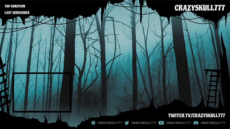 Horror Gaming Twitch Overlay Template Featuring An Eerie Forest Scene