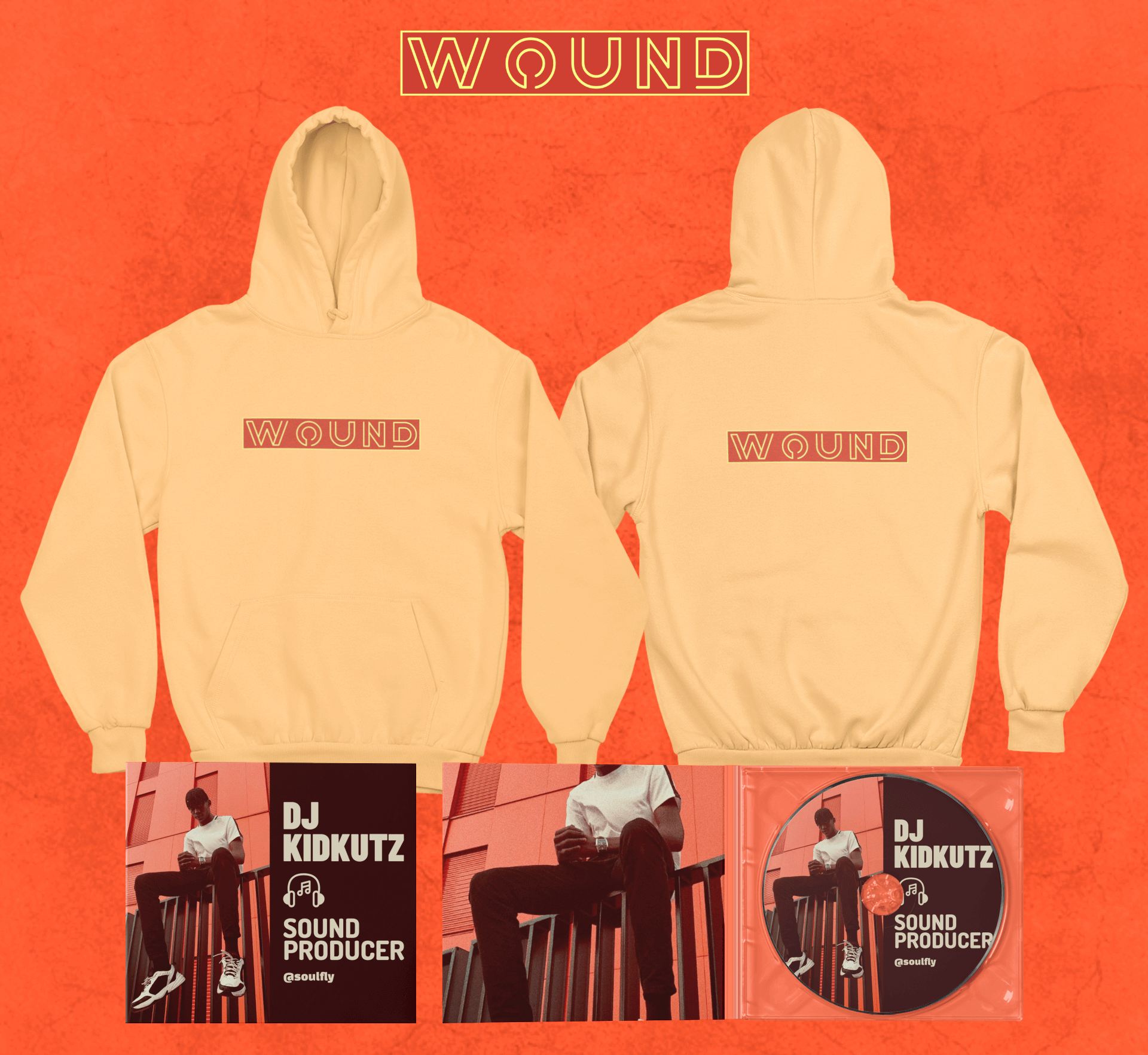 Merch Bundle Mockup Featuring A Both Sides View Hoodie And Two Digipaks