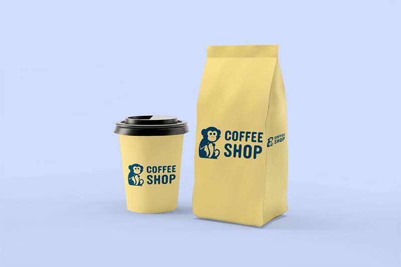 Mockup Of A Coffe Cup Placed Next To A Coffee Bag Packaging