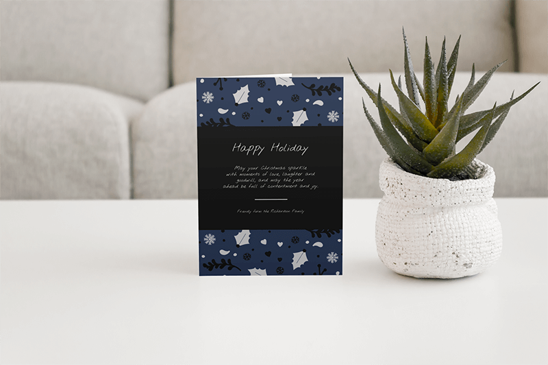 Mockup Of A Greeting Card Placed On A Center Table